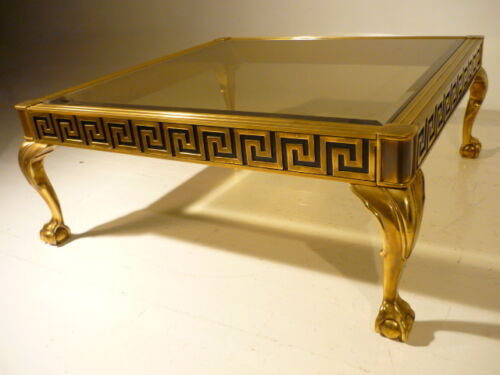Massive MASTERCRAFT Neo Classic Regency Brass Cabriole Claw Foot Cocktail Table