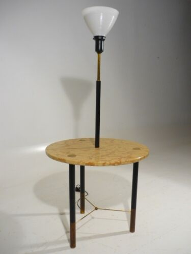 Vintage 50's Harvey Probber Lighted Brass Marble Side Table Mid Century Modern