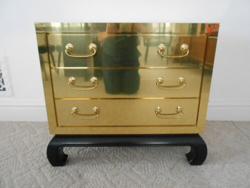Vintage Brass Clad 3 Drawer Bachelors Chest Ming Base Hollywood Regency