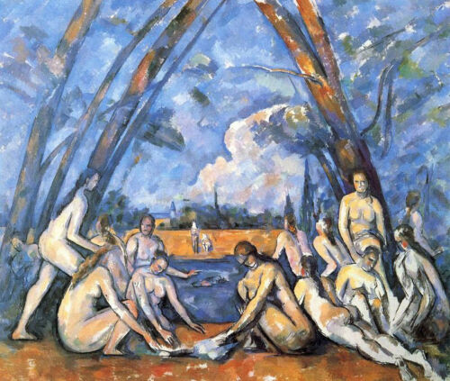 """Large Bathers by Paul Cezanne, Hand Painted Oil Painting Reproduction, 24"""" x 20"""""""