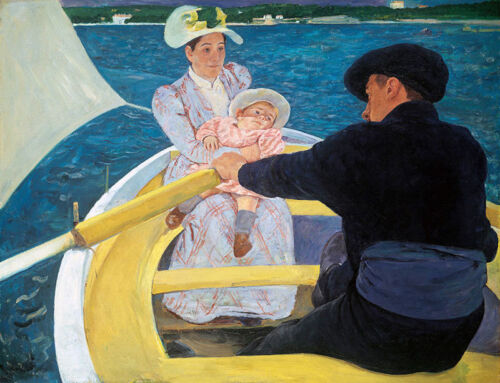 """The Boat Trip by Mary Cassatt, Hand Painted Oil Painting Reproduction, 30"""" x 22"""""""