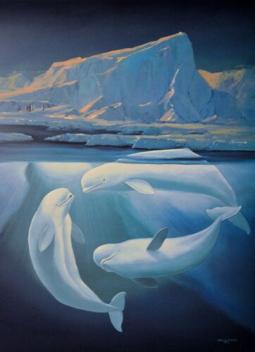 WYLAND LITHOGRAPH LE BELUGAS THE WHITE WHALES  SIGNED/#406/950 W/COA BEAUTIFUL