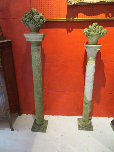 Two Antique Marble and Limestone Garden Columns- From The Godfather III Estate