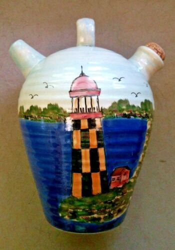 VINTAGE POTTERY 2 Spout Stoneware JUG Lighthouse Nautical Seaside Mark ECLECTIC