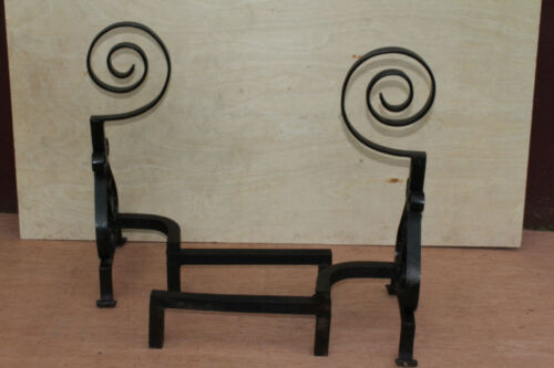 American Wrought Iron Firepalce Andirons with Scroll Finial, Circa 19th