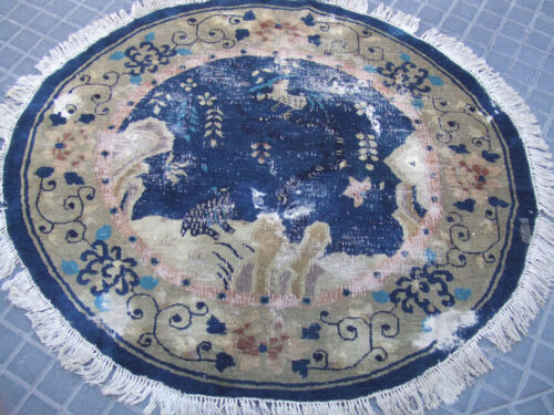 Beautiful hand-woven antiques Chinese rug Round Carpet 125x113-cm/49.2x44.4-inch