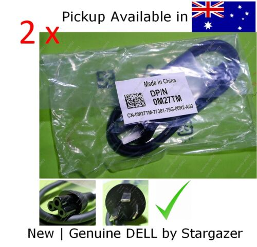 2xNew & Genuine 90cm Laptop 3 Prong 3 pin Dell Power Cord Cable micky mouse