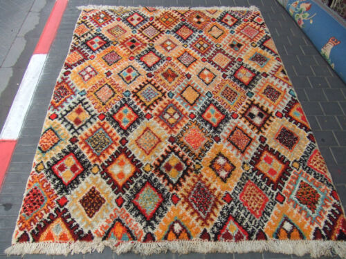ORIGINAL ANTIQUE MOROCCAN WOOL CARPET RUG HAND MADE 250x180-cm /98.4x70.8-inches