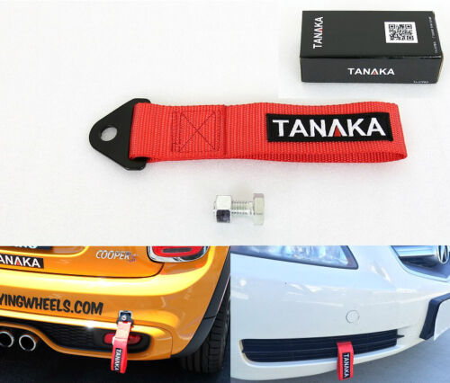 TANAKA HIGH STRENGTH UNIVERSAL RED RACING SPORTS TOW STRAP TOW HOOK <br/> 2760+ SOLD!! Free Return and Full Refund if NOT like it