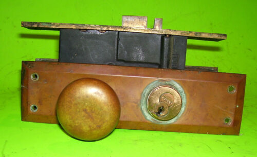 Antique Brass ENTRANCE SET with back Plates, lock box, and door knobs- (DH329)