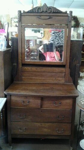 ANTIQUE Mission Oak Dresser with original hardware & wooden casters
