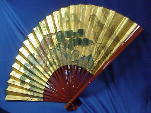 """HUGE Vintage Oriental Asian Painted Paper Wall Fan Bengal TIGER 30""""x54"""" SIGNED"""