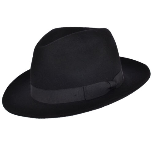 Gladwin Bond Quality Classic Hand Made Fedora Trilby Hat With  Band 100% Wool