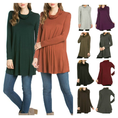USA Women Casual Mock Turtleneck Long Sleeve Trapeze Tunic Top Loose Fit Dress