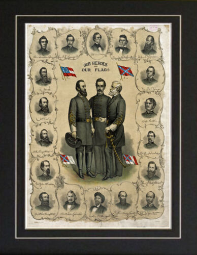 Civil War Confederate Generals OUR HEROES Lithograph reproductionPhotographs - 165591