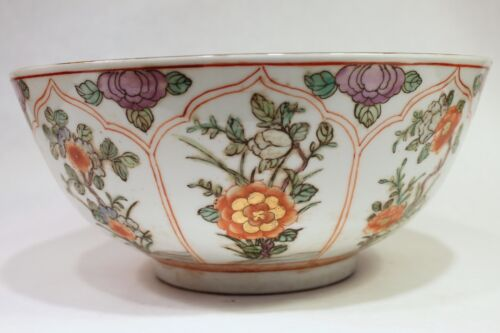 "Beautiful Orange and White Porcelain Bowl Floral Pattern 10"" Diameter"