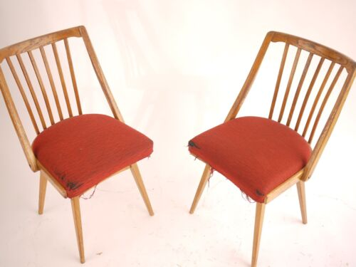 Pair of wooden curvish sturdy chairs red uphulstry