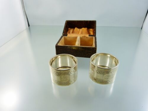 "ENGRAVED PAIR OF STERLING NAPKIN RINGS BOXED BY W.A BIRMINGHAM 1926 ""BB"""
