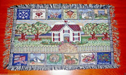 """RUG Or TABLE TOPPER~Woven Tapestry~""""Seasons Of The Year""""~Fringed~33"""" By 18""""~NEW"""