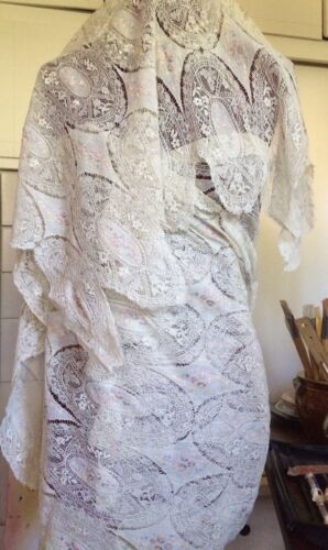 """Antique Gorgeous Handmade Lace Stole 3 Yards By 32"""" Rare"""