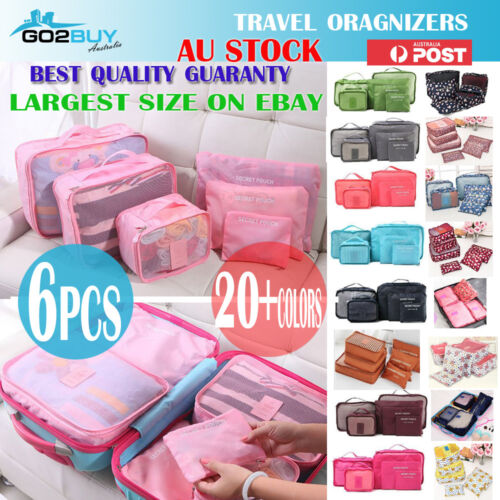 6PCS Travel Luggage Organizer Set Backpack Storage Pouches Suitcase Packing Bags <br/> EXTRA LARGE💰BEST QUALITY GUARANTY💰20+ COLORS IN MEL