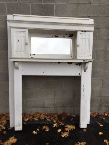 Mp Two Antique Oak Arts And Craft Fireplace Mantel With Bookcases