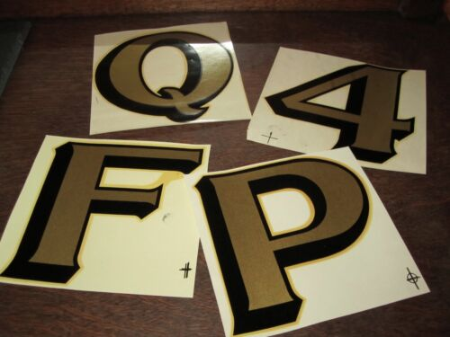 """A-Z 0-9 Vintage 5½"""" Duro Waterslide Decals Letters Numbers Typography Gold Foil"""