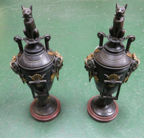 Pair of 19th Century Bronze Urns- Helenic Heads at Sides and Cats On Lids
