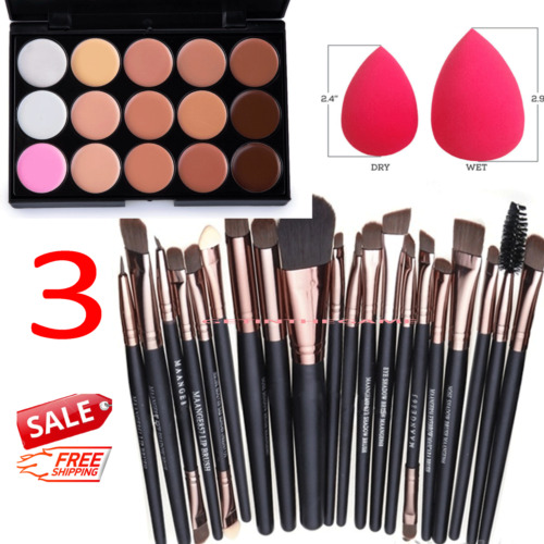 15 Colors Makeup Contour Face Cream Concealer Palette Professional + 20 BRUSH SP <br/> Free Shipping* Foundation Eyeshadow Eyeliner Eyebrow