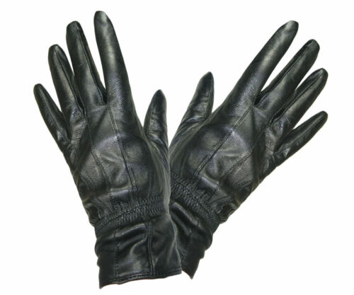 SOFT SUPPLE LADIES WOMENS FLEECE LINED QUALITY BLACK REAL LEATHER FITTED GLOVES