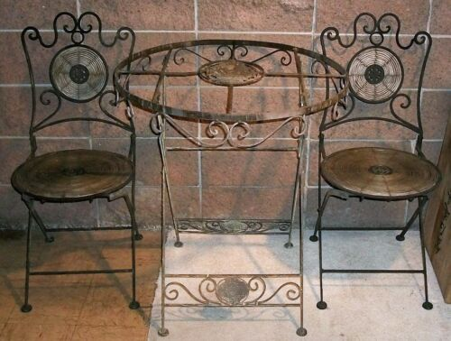 Rare 1930's Iron Bistro Table. Cafe Patio Set Chairs Wicker Vintage Wrought Cast