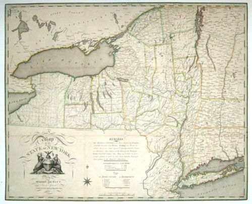 1804 NY New York MAP CAYUGA NASSAU ONONDAGA SENECA WAYNE History County    HUGE