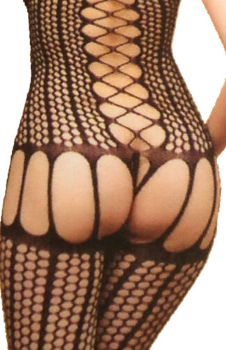 LADIES SEXY BLACK OPEN CROTCH BODY STOCKING BABY DOLL FISHNET SUSPENDER SUITS