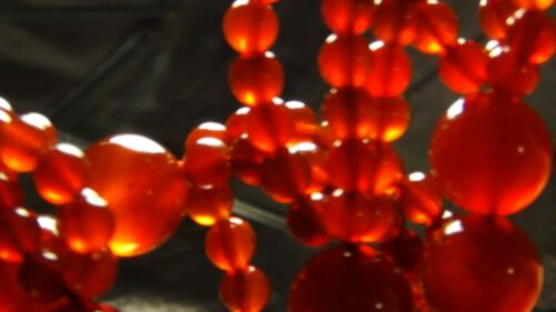 VINTAGE CHINESE TRIPLE ROW CORNELIAN COMBINATION LARGE AND SMALL BEADS NECKLACE