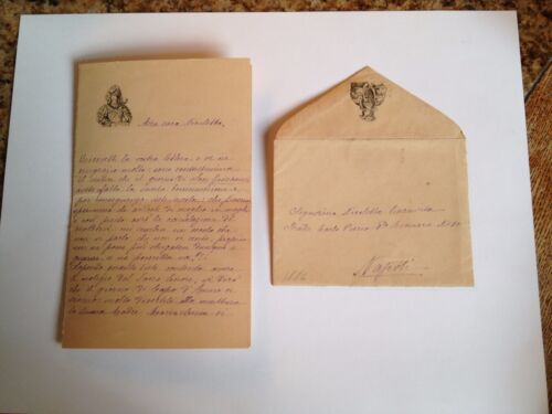 1886 --Meia cara Nicoletta (4 Page signed letter w/Envelope, Napoli, Cento Baci