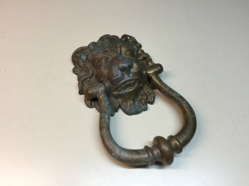 "Old Vtg Architectural Decorative Brass Lions Head Door Knocker 6"" x 4"""