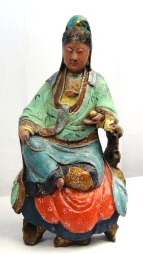 """ANTIQUE 19c CHINESE POLYCHROME WOOD CARVED PAINTED A SEATED QUAN-YIN STATUE 12"""""""