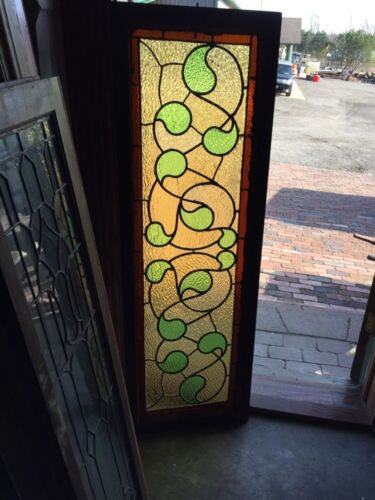 Sg 382 Antique Stainglass Window Green Waves
