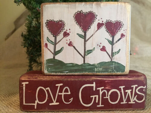 Country Valentine's Day Heart Flowers Love Grows 2pc Shelf Sitter Wood Block Set