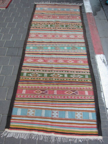 VINTAGE ANTIQUE MOROCCAN RUNNER RUG HAND MADE  230x90-cm / 90.5x35.4-inches