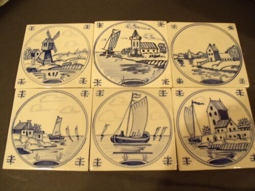 6 Antique Delft Dutch Tiles 1890-1900's Hand Painted Blue & White Dutch Scenes