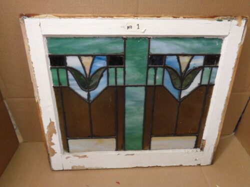 STUNNING TULIP STAINED GLASS WINDOW RARE