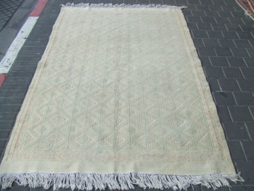 ORIGINAL ANTIQUE MOROCCAN KILIM  RUG HAND MADE 210x133-cm / 82.6x52.3-inches