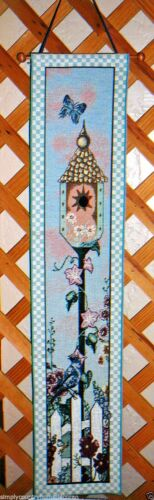 """BELL PULL & ROD~Tapestry Like~""""Home Tweet Home""""~Birdhouse & Blue Jay"""