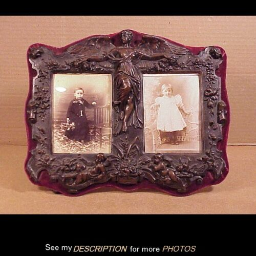 The Best Ever Antique Victorian Thermoplastic Double Picture Frame Angel Cupids