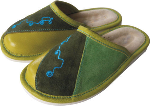 Boy's Leather Slippers Shoes, Hand Made In Green