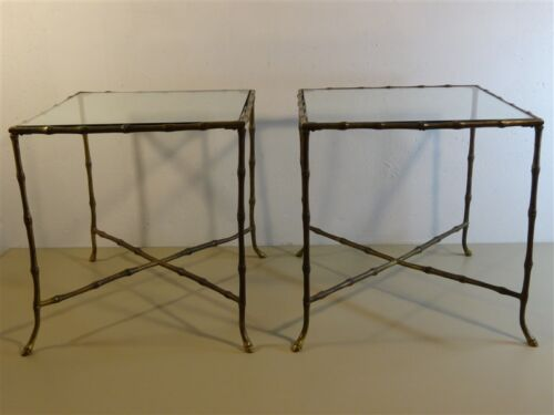 PAIR Brass Faux Bamboo Legs Glass Cocktail Table Mid-Century Hollywood Regency