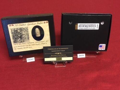 .58 Caliber Confederate Gardner Civil War Bullet in Matted Display Case with COABullets - 103996