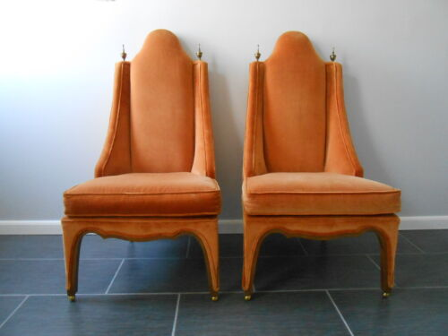 Vintage Superb Pair Hollywood Regency Armless Slipper Chairs Mid Century