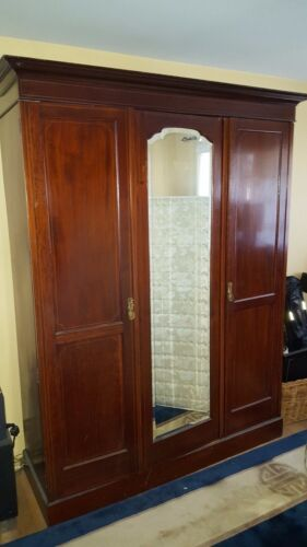 Antique Mahogany Beveled Mirror Wardrobe Armoire